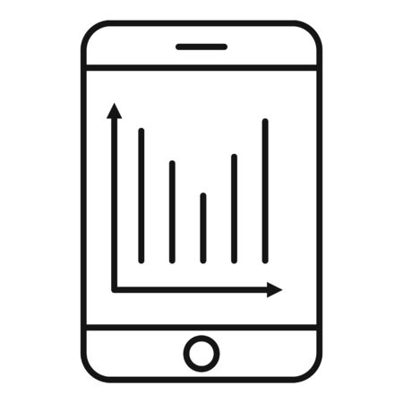 Finance smartphone chart icon, outline style Illustration