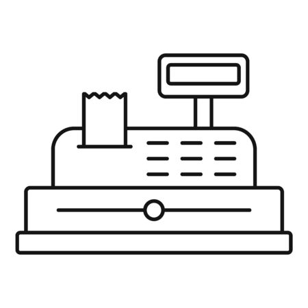 Cashier device icon, outline style 向量圖像