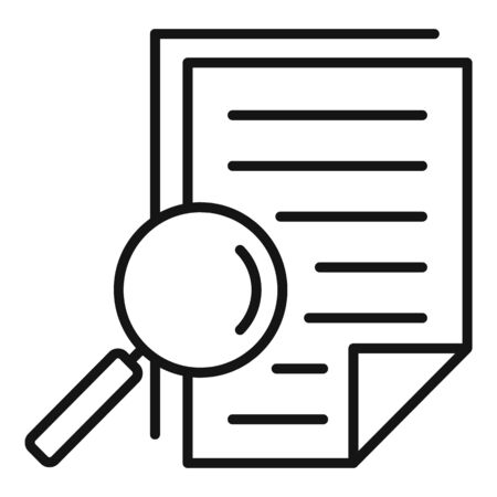 Magnifier tax papers icon, outline style