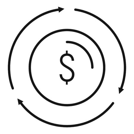 Money exchange icon, outline style Illustration