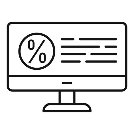 Tax computer monitor icon, outline style