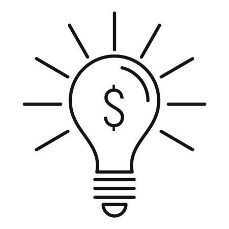 Bulb money idea icon, outline style