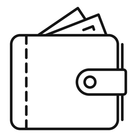 Leather wallet icon, outline style