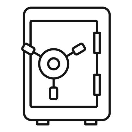 Money safe icon, outline style Illustration