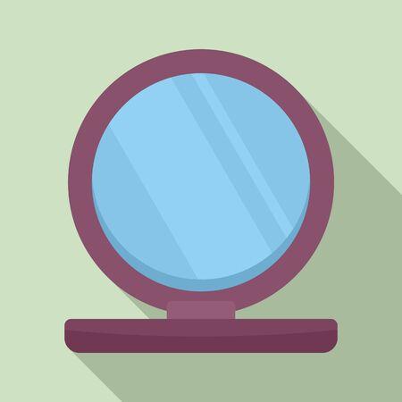 Plastic mirror icon, flat style