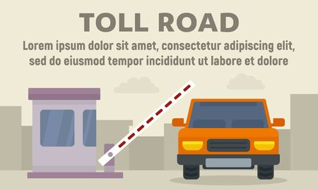 Car on toll road concept banner, flat style