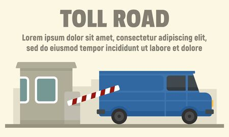 Delivery truck on toll road concept banner, flat style