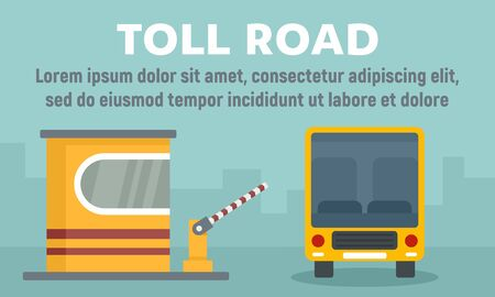 School bus toll road concept banner, flat style Illustration