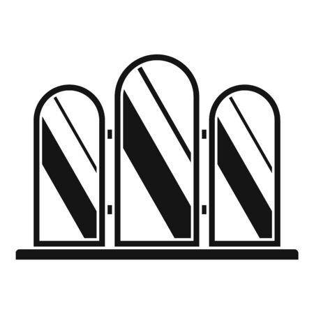 Triple mirror icon, simple style