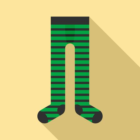 Striped tights icon, flat style