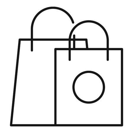Shopping addiction icon. Outline shopping addiction vector icon for web design isolated on white background Illustration