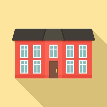 City cottage icon, flat style