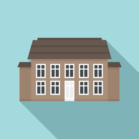Old cottage icon, flat style