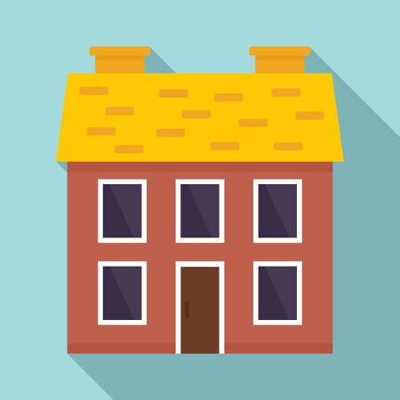 Chalet cottage icon, flat style