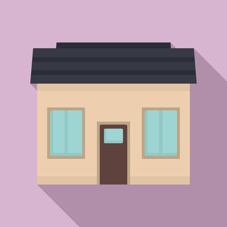 Small cottage icon, flat style