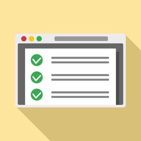 Online checklist icon, flat style Ilustrace