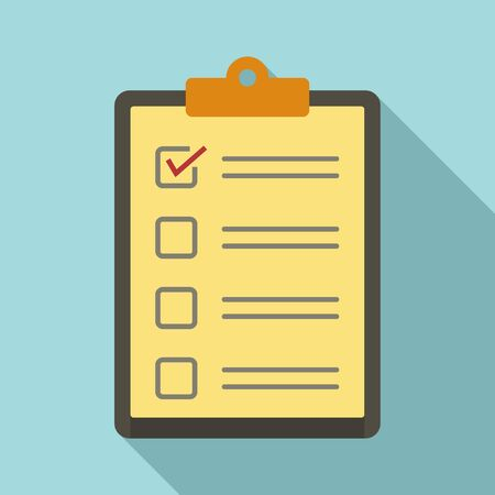 Paper checklist icon, flat style
