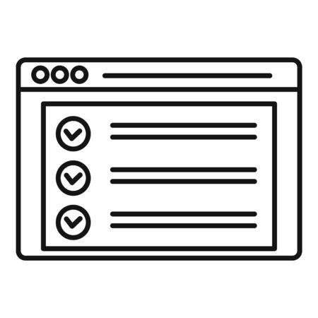 Online checklist icon, outline style Ilustrace