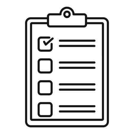 Paper checklist icon, outline style