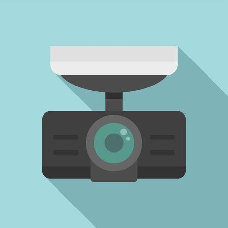 Dash cam recorder icon, flat style 向量圖像