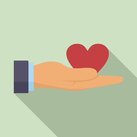Donation heart in hand icon, flat style