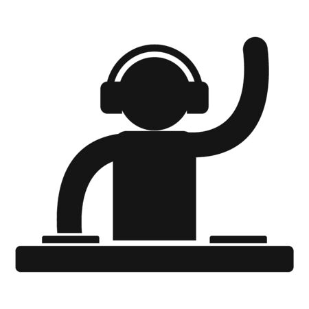 Dj party icon, simple style