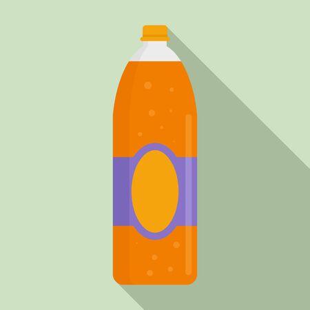 Orange juice soda icon, flat style