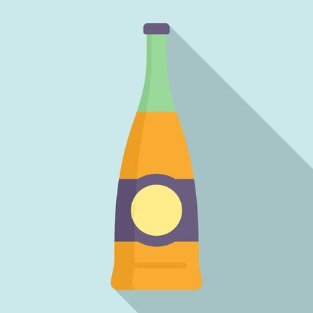 Supermarket soda bottle icon, flat style