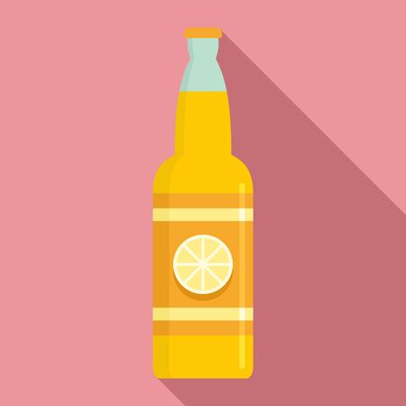Lemon soda drink icon, flat style