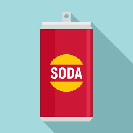 Fruit soda tin can icon, flat style