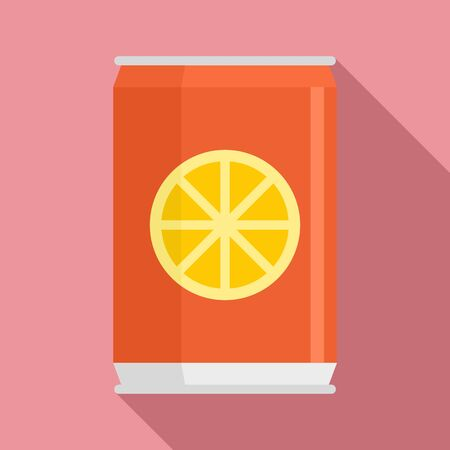 Healthy orange soda icon, flat style