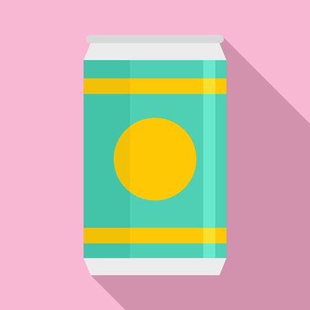 Natural soda tin can icon, flat style