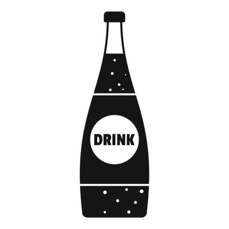 Soda glass bottle icon, simple style