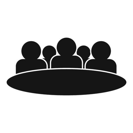 Round table audience icon, simple style
