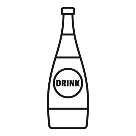 Soda glass bottle icon, outline style