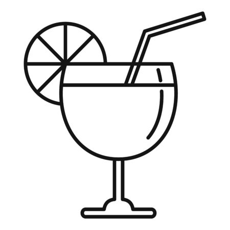 Fruit cocktail icon, outline style