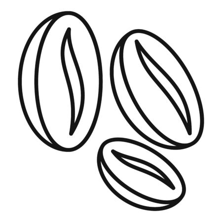 Coffee beans icon, outline style