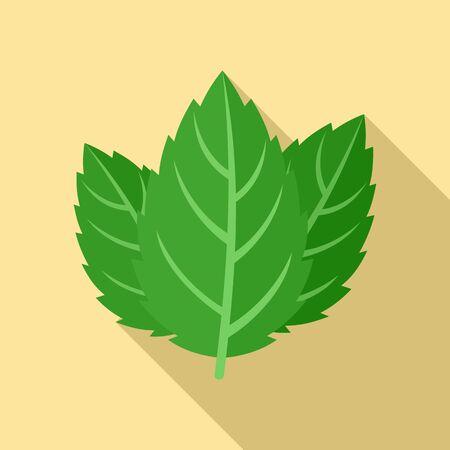 Mint leaf icon, flat style
