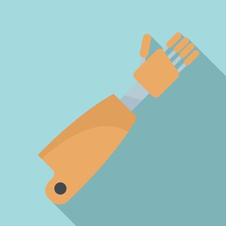 Prosthesis hand icon, flat style