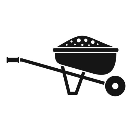 Soil wheelbarrow icon, simple style