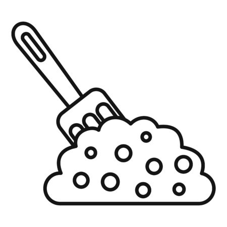 Hand fork soil icon, outline style