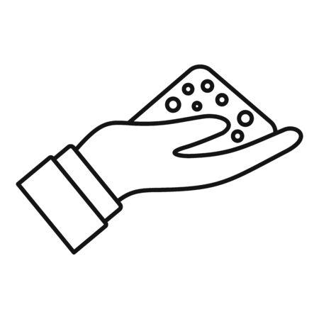 Compost soil hand icon, outline style Banco de Imagens - 134643795