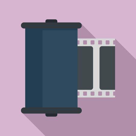 Retro camera film icon, flat style Illusztráció