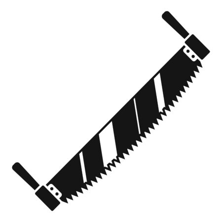 Double hand saw icon, simple style