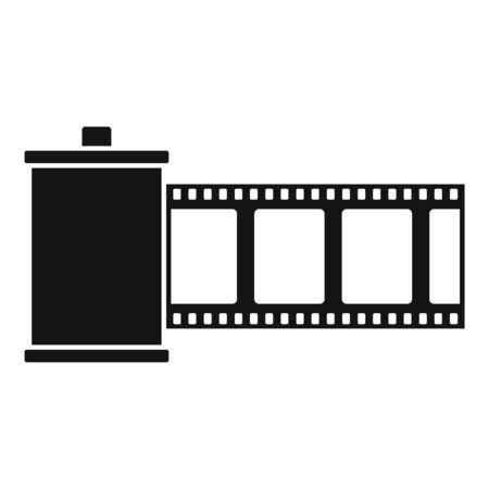 Film roll icon, simple style