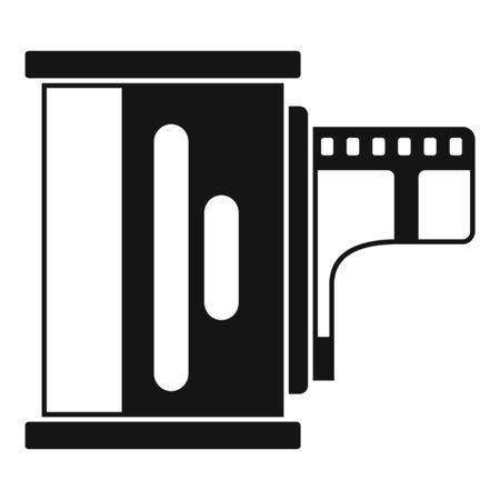 Camera film icon, simple style
