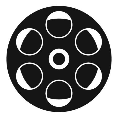 Film reel icon, simple style