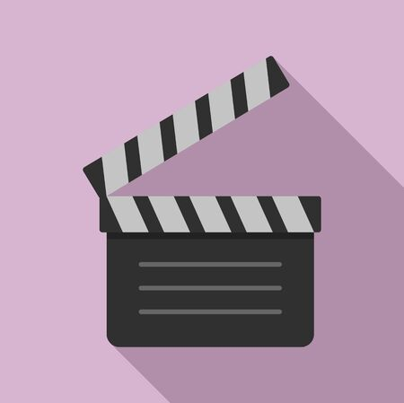 Film clapper icon, flat style 向量圖像