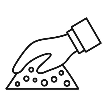 Hand soil icon, outline style Çizim