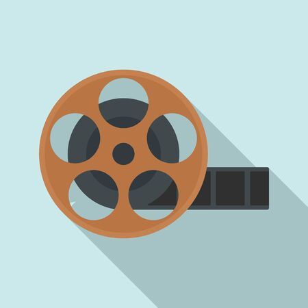Cinema reel icon, flat style